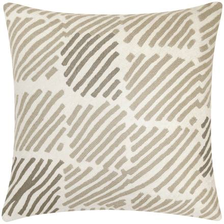 Judy Ross Textiles Hand-Embroidered Chain Stitch Static Box Throw Pillow cream/oyster/smoke