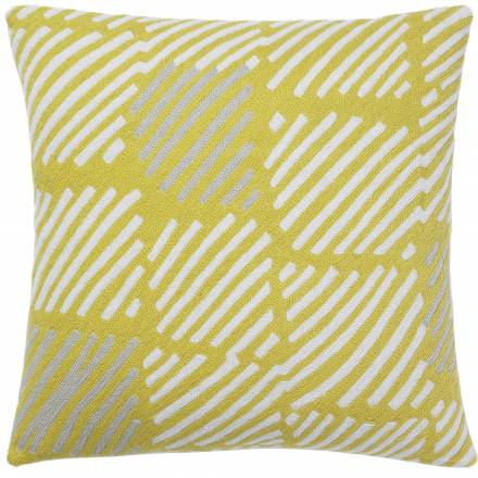 Judy Ross Textiles Hand-Embroidered Chain Stitch Static Box Throw Pillow yellow/cream/oyster