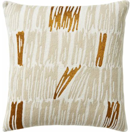 Judy Ross Textiles Hand-Embroidered Chain Stitch Static Throw Pillow cream/oyster/gold rayon