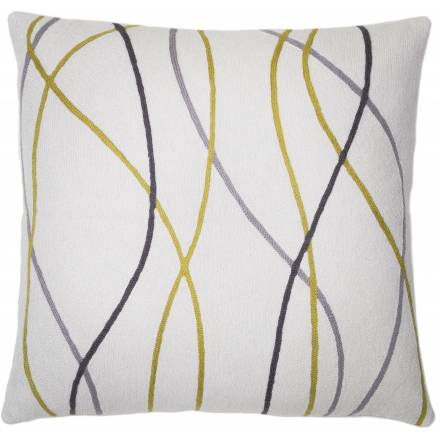 Judy Ross Textiles Hand-Embroidered Chain Stitch Streamers Throw Pillow cream/curry/dark grey/fog