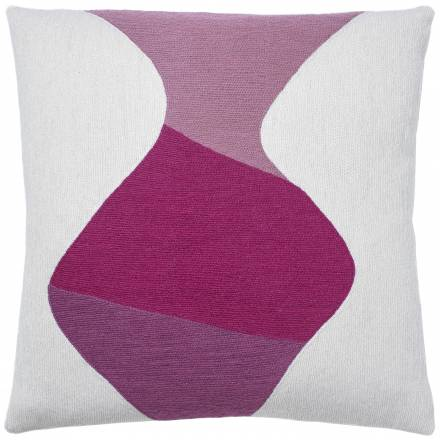 Judy Ross Textiles Hand-Embroidered Chain Stitch Totem Throw Pillow cream/dusty pink/fuchsia/cerise
