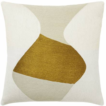Judy Ross Textiles Hand-Embroidered Chain Stitch Totem Throw Pillow cream/oyster/gold rayon