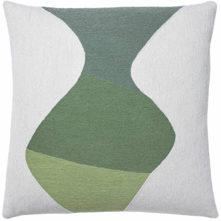 Judy Ross Textiles Hand-Embroidered Chain Stitch Totem Throw Pillow cream/spearmint/mint/celery