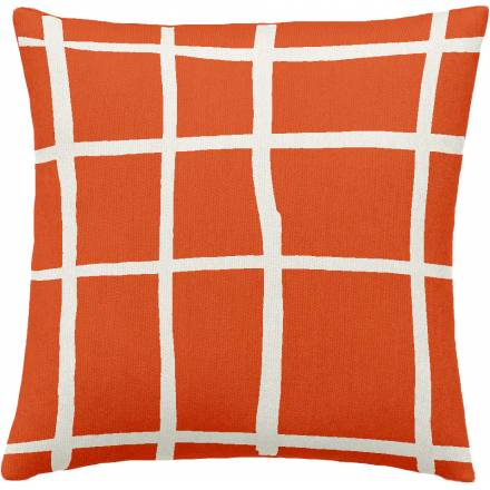 Judy Ross Textiles Hand-Embroidered Chain Stitch Windowpane Throw Pillow coral/cream