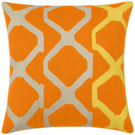 Judy Ross Textiles Hand-Embroidered Chain Stitch Arbor Throw Pillow melon/oyster/yellow