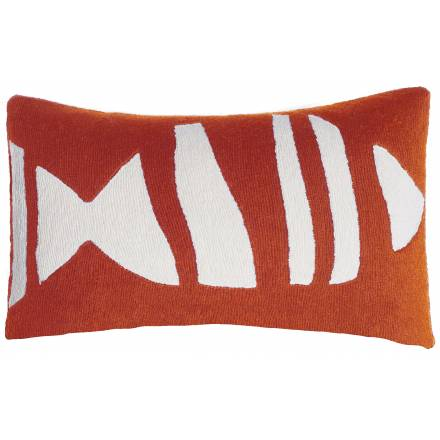 Judy Ross Textiles Hand-Embroidered Chain Stitch Boca Throw Pillow coral