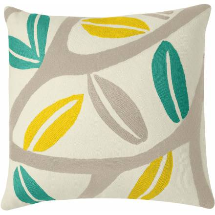 Judy Ross Textiles Hand-Embroidered Chain Stitch Branches Throw Pillow cream/oyster/aqua/yellow