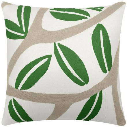 Judy Ross Textiles Hand-Embroidered Chain Stitch Branches Throw Pillow cream/oyster/asparagus