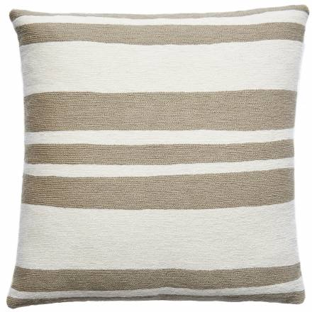 Judy Ross Textiles Hand-Embroidered Chain Stitch Cabana Throw Pillow smoke/cream