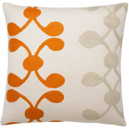 Judy Ross Textiles Hand-Embroidered Chain Stitch Celine Throw Pillow cream/melon/oyster