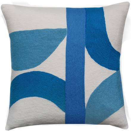 Judy Ross Textiles Hand-Embroidered Chain Stitch Eclipse Throw Pillow cream/marine/sky blue