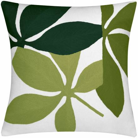 Judy Ross Textiles Hand-Embroidered Chain Stitch Fauna Throw Pillow cream/hunter/asparagus/lime