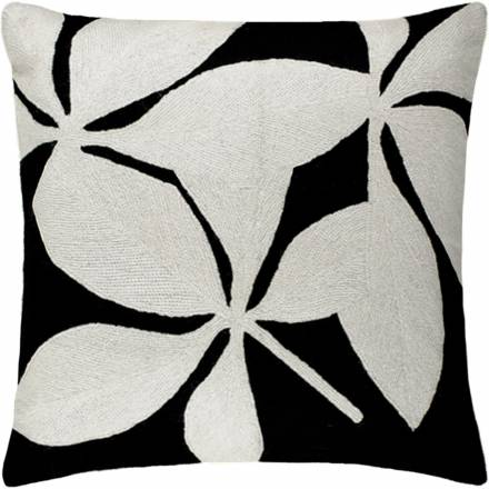 Judy Ross Textiles Hand-Embroidered Chain Stitch Fauna Throw Pillow black/cream