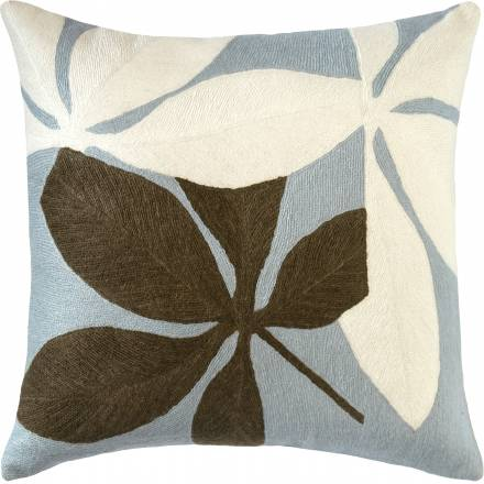 Judy Ross Textiles Hand-Embroidered Chain Stitch Fauna Throw Pillow celadon/cream/fig