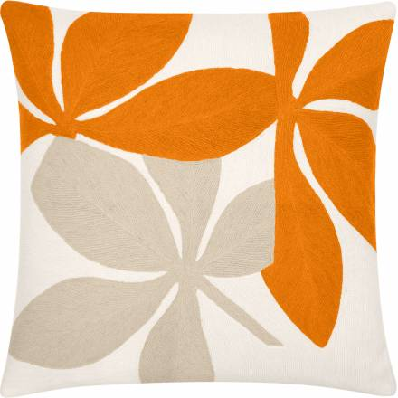 Judy Ross Textiles Hand-Embroidered Chain Stitch Fauna Throw Pillow cream/melon/oyster