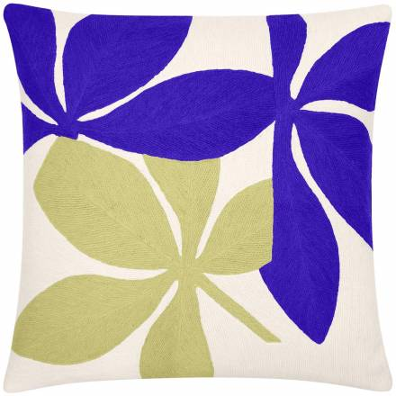 Judy Ross Textiles Hand-Embroidered Chain Stitch Fauna Throw Pillow cream/periwinkle/pollen