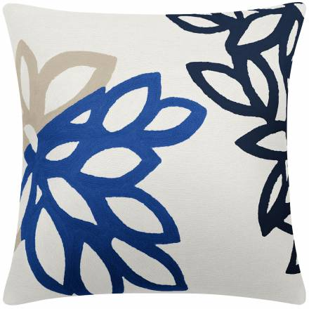 Judy Ross Textiles Hand-Embroidered Chain Stitch Lagoon Throw Pillow cream/oyster/marine/navy