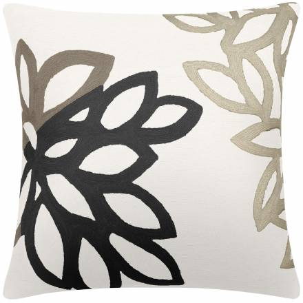 Judy Ross Textiles Hand-Embroidered Chain Stitch Lagoon Throw Pillow cream/smoke/black/oyster