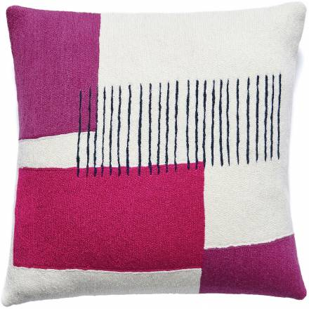 Judy Ross Textiles Hand-Embroidered Chain Stitch Level Throw Pillow cream/cerise/fuchsia/navy