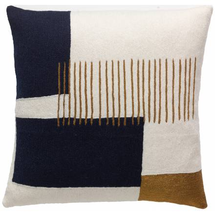 Judy Ross Textiles Hand-Embroidered Chain Stitch Level Throw Pillow cream/navy/gold rayon