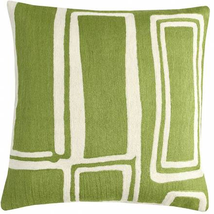 Judy Ross Textiles Hand-Embroidered Chain Stitch Procession Throw Pillow spring green/cream
