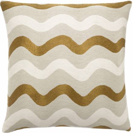 Judy Ross Textiles Hand-Embroidered Chain Stitch Ric Rak Throw Pillow oyster/gold rayon/cream