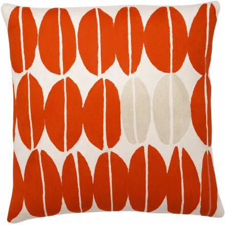 Judy Ross Textiles Hand-Embroidered Chain Stitch Seeds Throw Pillow cream/coral/oyster