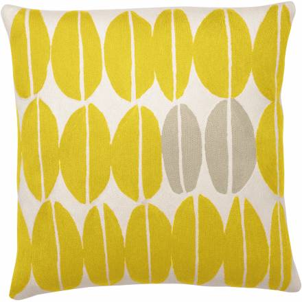Judy Ross Textiles Hand-Embroidered Chain Stitch Seeds Throw Pillow cream/yellow/fog