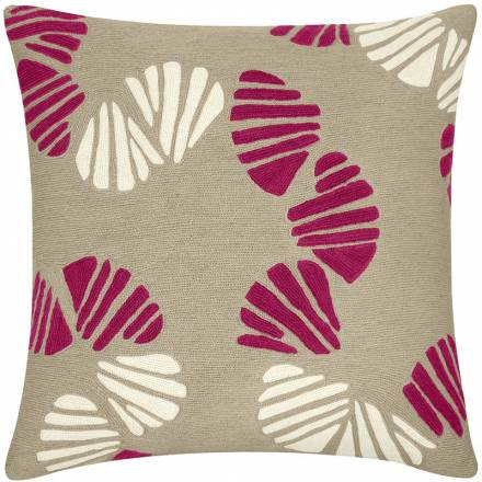 Judy Ross Textiles Hand-Embroidered Chain Stitch Shells Throw Pillow oyster/cerise/cream