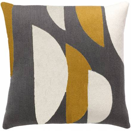 Judy Ross Textiles Hand-Embroidered Chain Stitch Slice Throw Pillow dark grey/cream/curry