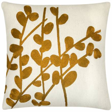 Judy Ross Textiles Hand-Embroidered Chain Stitch Spray Throw Pillow cream/gold rayon