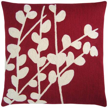 Judy Ross Textiles Hand-Embroidered Chain Stitch Spray Throw Pillow rouge/ivory