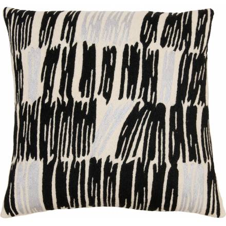 Judy Ross Textiles Hand-Embroidered Chain Stitch Static Throw Pillow cream/black/fog rayon