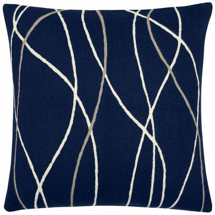 Judy Ross Textiles Hand-Embroidered Chain Stitch Streamers Throw Pillow navy/cream/oyster