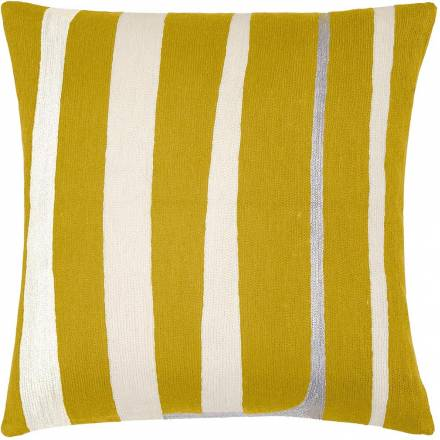 Judy Ross Textiles Hand-Embroidered Chain Stitch Stripe Throw Pillow curry/cream/fog rayon