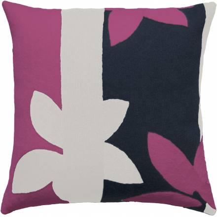 Judy Ross Textiles Hand-Embroidered Chain Stitch Sunset Throw Pillow cream/cerise/navy