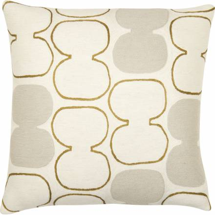 Judy Ross Textiles Hand-Embroidered Chain Stitch Tabla Outlined Throw Pillow cream/gold rayon/oyster