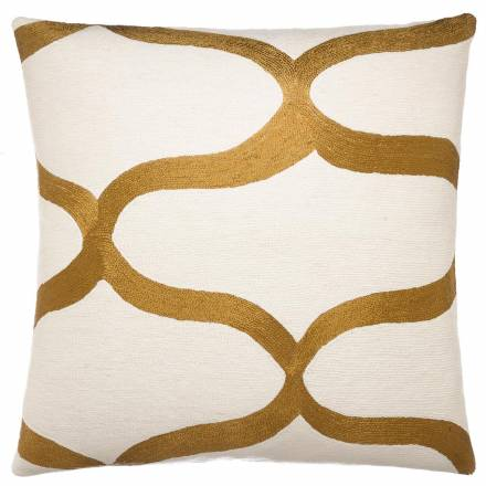 Judy Ross Textiles Hand-Embroidered Chain Stitch Waves Throw Pillow cream/gold rayon