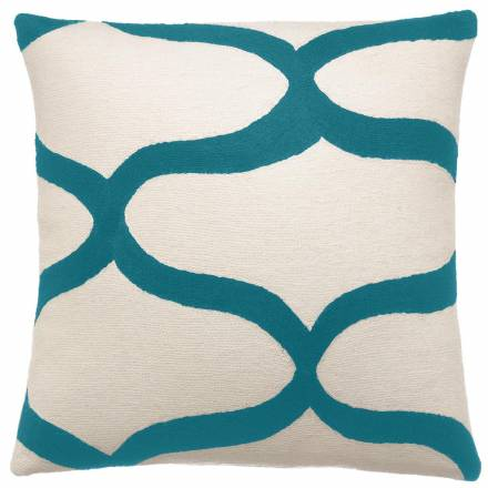 Judy Ross Textiles Hand-Embroidered Chain Stitch Waves Throw Pillow cream/peacock