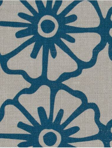 Hand-Printed Linen Pinwheel Outlined Hand-Printed Linen Tropical Blue