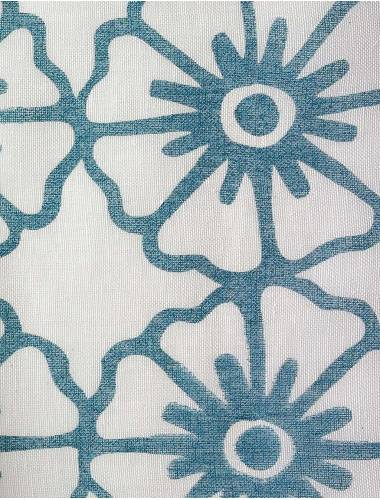 Hand-Printed Linen Sheer Pinwheel Outlined Hand-Printed Linen tropical blue