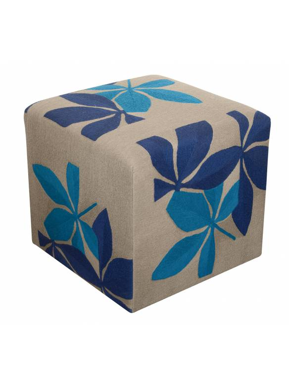 Judy Ross Textiles Hand-made Fauna Cube Furniture pewter/royal/tropical blue