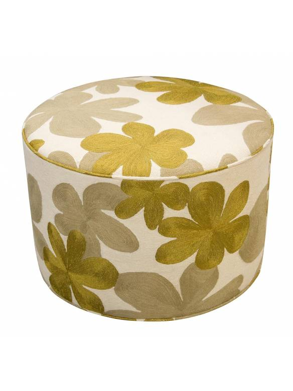 Judy Ross Textiles Hand-made Cluster Pouf Furniture cream/blonde/gold rayon