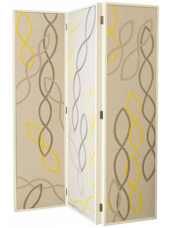 Judy Ross Textiles Hand-made Swirls Screen Furniture yellow/pewter/silver