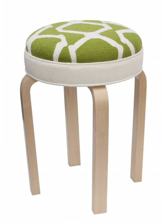 Judy Ross Textiles Hand-made Stool Arbor Lime Furniture lime/cream