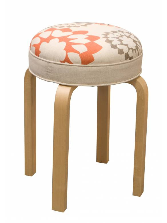 Judy Ross Textiles Hand-made Stool Carousel Linen Furniture coral/smoke