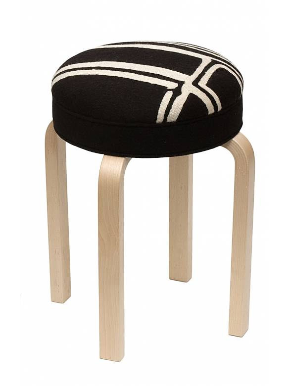 Judy Ross Textiles Hand-made Stool Procession Black Furniture black/cream