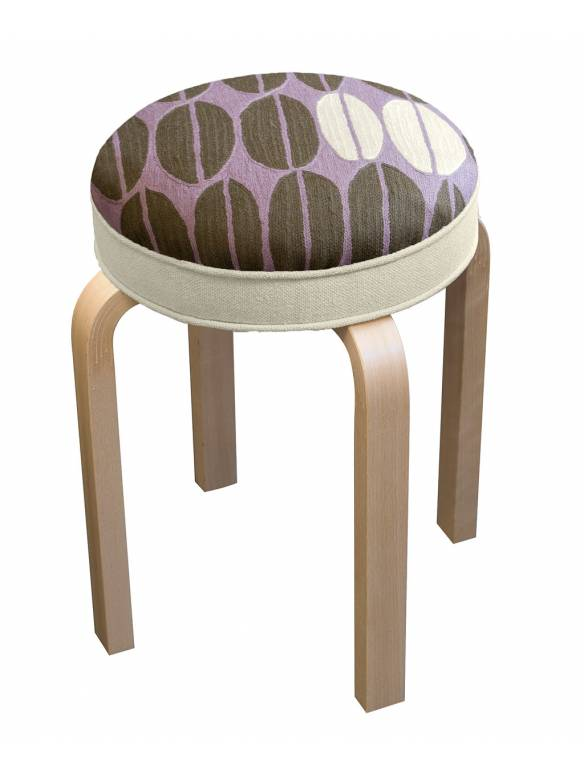 Judy Ross Textiles Hand-made Seeds Stool Furniture lilac/fig/cream