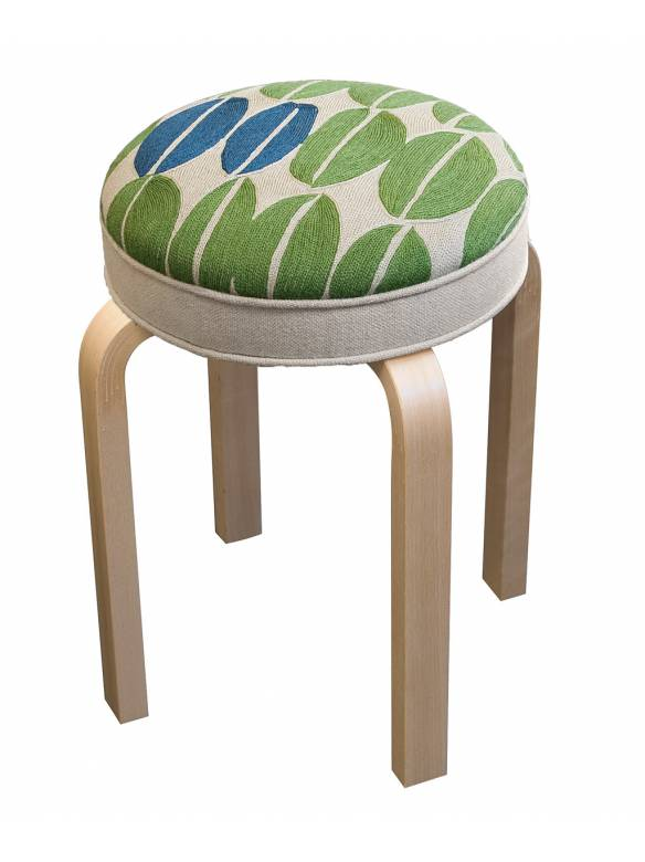 Judy Ross Textiles Hand-made Seeds Stool Furniture wheat/asparagus/blueberry