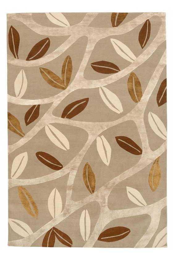 Judy Ross Hand-Knotted Custom Wool Branches Rug iron/oyster/lime/parchment
